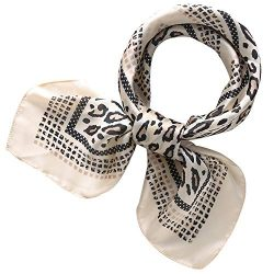 "RIIQIICHY Women's 27.28"" Silk Satin Square Leopard Print Hair Head Scarf Neckerchief"