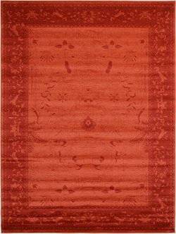 Unique Loom La Jolla Collection Tone-on-Tone Traditional Rust Red Area Rug (9′ x 12′)