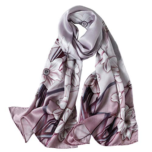 Women's Mulberry Silk Scarf Floral Print Scarves Shawls for Headscarf (Jyyd09)