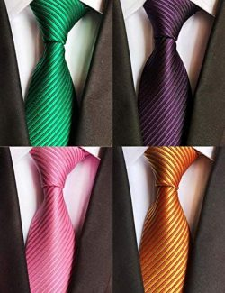 WeiShang Lot 4 PCS Classic Men's Tie Silk Necktie Woven JACQUARD Neck Ties (Style 19)