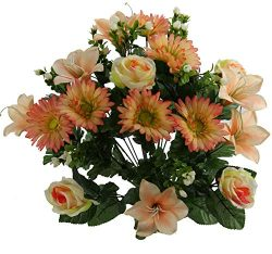Admired By Nature ABN1B004-PH Artificial 24 Stem Lily, Rose, Gerbera Mixed Bush, Peach