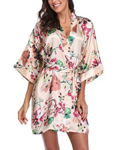 Women's Satin Floral Kimono Robe Short Bridesmaid Bathrobe for Wedding Party,Apricot S