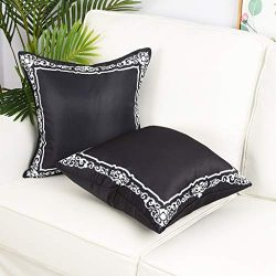 Yinnazi Square Geometric Printing Throw Pillow Cover Decorative Faux Silk Cushion Cover for Couc ...