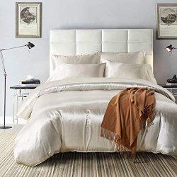 NAIVON Duvet Cover Set Silk Like Satin Bedding,3-Piece Feeling Lightweight Soft Bedding Set,with ...