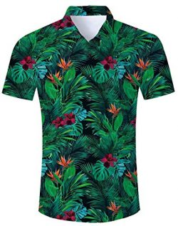 Fanient Mens Hawaiian Shirt Printed Flower Leaf Aloha Shirt Casual Short Sleeve Shirt XL
