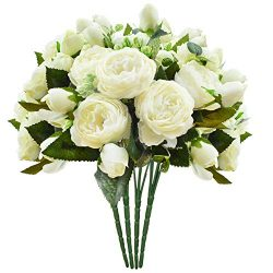 Schliersee Artificial Flowers Peony Silk Fake Flower Bouquet for Home Wedding Decoration Cream C ...