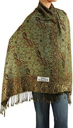 Falari Women's Woven Paisley Pashmina Shawl Wrap Scarf 80″ x 27″ (Style 1 R ...