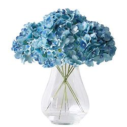 Kislohum Artificial Hydrangea Flowers Heads 10 Teal Hydrangea Silk Flowers Head for Wedding Cent ...