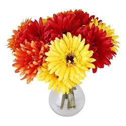 "6PCS Artificial Flowers, 8.7"" Gerbera Daisies Silk Flowers Realistic Real Touch Fake Daisy ..."