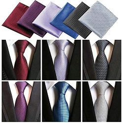 Lot 6 Pcs Mens Ties and 6 Free Matching Pocket Squares, Men's Classic Tie Necktie Woven Ja ...
