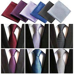 Lot 6 Pcs Mens Ties and 6 Free Matching Pocket Squares, Men's Classic Tie Necktie Woven Ja ...