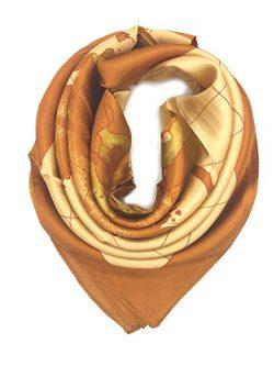 YOUR SMILE Silk Like Scarf Women's Fashion Pattern Large Square Satin Headscarf (World Map)