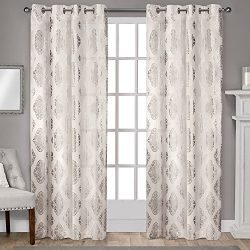 Exclusive Home Curtains Augustus Metallic Light Filtering Window Curtain Panel Pair with Grommet ...