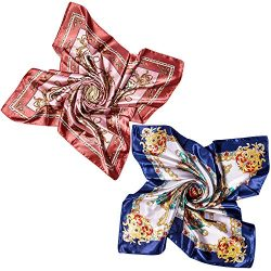2 PCS Women's Large Satin Square Silk Feeling Hair Scarf 35 x 35 inches (A-15)