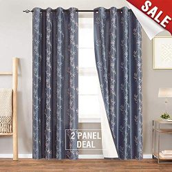 Floral Embroidered Curtains for Bedroom Drapes Semi Sheer Curtains for Living Room Faux Silk Emb ...