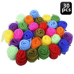 Blovec Juggling Silk Scarves, 30 pcs Square Dance Scarf Magic Movement Scarves Performance Props ...