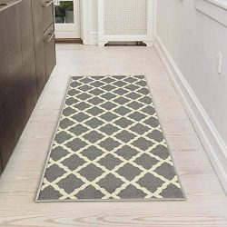 Silk Road Concepts SR-PNK7023-20X59 Collection Contemporary Rugs, 20″ x 59″, Gray