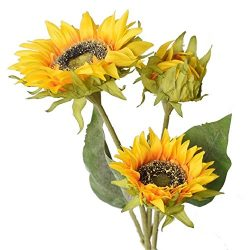 Htmeing Artificial Sunflowers Silk Flowers Fake Branches Decorative Plants Stems for Home Office ...