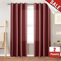 Faux Silk Window Curtains for Living Room 84 inch Length Dupioni Curtain Panels for Bedroom Grom ...