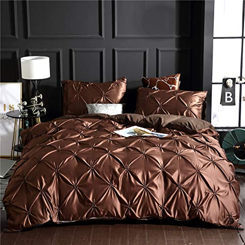 Brown Pinch Pleated Bedding Silk Like Satin Quilt Cover Pintuck Design Solid Silky Microfiber Du ...