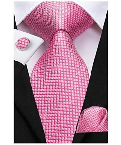 Dubulle Mens Pink Necktie and Pocket Square with Cufflinks Set Woven SIlk Ties for Wedding