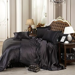 Reliable Bedding Luxurious Ultra Soft Silky Satin 6-Piece Bed Sheet Set King, Black