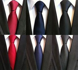 XTAPAN Men's 6 PCS Classic Neckties Woven Jacquard Polyester Silk Formal Neck Ties Set Pur ...