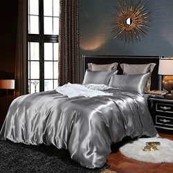 EastElegant Silk Like Duvet Cover Set 3 Pieces Bedding Duvet Cover and Pillow Shams King Size