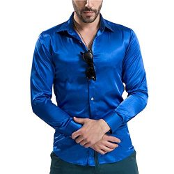 VICALLED Men's Satin Luxury Dress Shirt Slim Fit Silk Casual Dance Party Long Sleeve Fitte ...