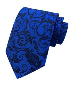 Men's Royal Blue Black Woven Silk Tie Easy-matching Suit Boys Dress Long Necktie