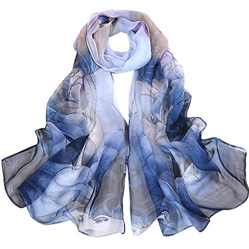 Silk Scarf-Han Shi Fashion Women Vintage Lotus Print Long Soft Wrap Shawl Wrap (Blue, L)