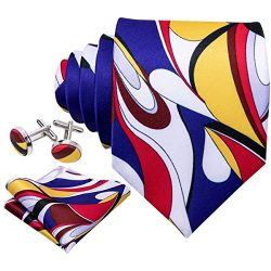 Barry.Wang Mens Designer Silk Tie Set Yellow Blue White Necktie Pocket Square Cufflinks