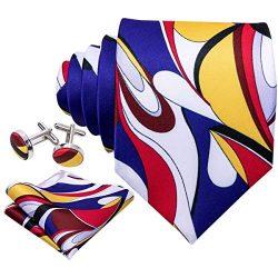 Barry.Wang Mens Designer Silk Tie Set Yellow Blue White Necktie Pocket Square Cufflinks