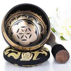Silent Mind ~ Tibetan Singing Bowl Set ~ Power and Strength Design ~ With Dual Surface Mallet an ...