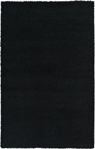 Unique Loom Solo Solid Shag Collection Modern Plush Jet Black Area Rug (5′ x 8′)