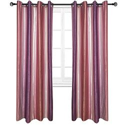 Riyidecor Purple Vertical Striped Curtains Classical Grape Ombre Gradient Grape Color Faux Silk  ...