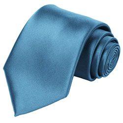 KissTies Mens Teal Blue Tie Solid Wedding Necktie + Gift Box