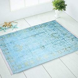 Silk Touch Turkish Area Rug, Non Slip, Non Skid, Machine Washable Rug (3×5, Teal Blue Turqu ...