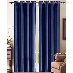 LuxuryDiscounts 2 Piece Solid Navy Blue Faux Silk Grommet Window Curtain Treatment Panel Drapes  ...