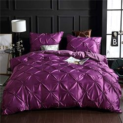 Dark Purple Bedding Silk Like Satin Pintuck Duvet Cover Set Pinch Pleated Ruffle Microfiber Bedd ...