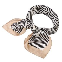 Jaweaver Women's Square Oblong Silk Satin Scarves Vintage Dots Head Scarf Shawl (Stripe-Be ...