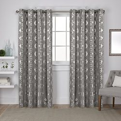 Exclusive Home Curtains Modo Metallic Geometric Window Curtain Panel Pair with Grommet Top, 54&# ...