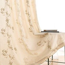 Faux Silk Floral Embroidered Grommet Top Curtains for Bedroom 63 inches Long Embroidery Curtain  ...