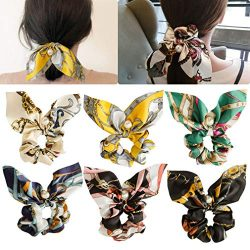 6pcs Hair Scrunchies Chiffon Elastic Hair Bands Bowknot Pearls Hair Ties Ponytail Holder Silk Sc ...