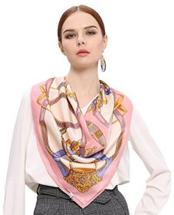 Grace Scarves 100% Silk Scarf With Hand Rolled Edges, Large, Wheel of Belts & Chains, Pink