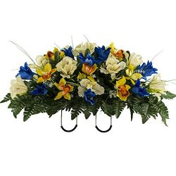 Sympathy Silks Artificial Cemetery Flowers – Realistic Vibrant Tulips, Outdoor Grave Decor ...