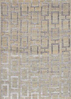 Ecarpetgallery Hand-Knotted La Seda Open Field 5′ x 7′ Ivory 70% Wool & 30% Art  ...