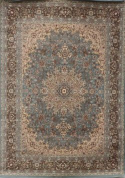 Feraghan/New City Traditional Isfahan Wool Persian Area Rug, 9 x 12, Light Blue/Silver
