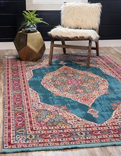 Unique Loom Baracoa Collection Bright Tones Vintage Traditional Turquoise Area Rug (8′ x 1 ...