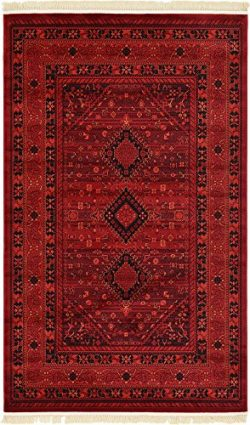 Unique Loom Tekke Collection Tribal Traditional Torkaman Red Area Rug (5′ x 8′)